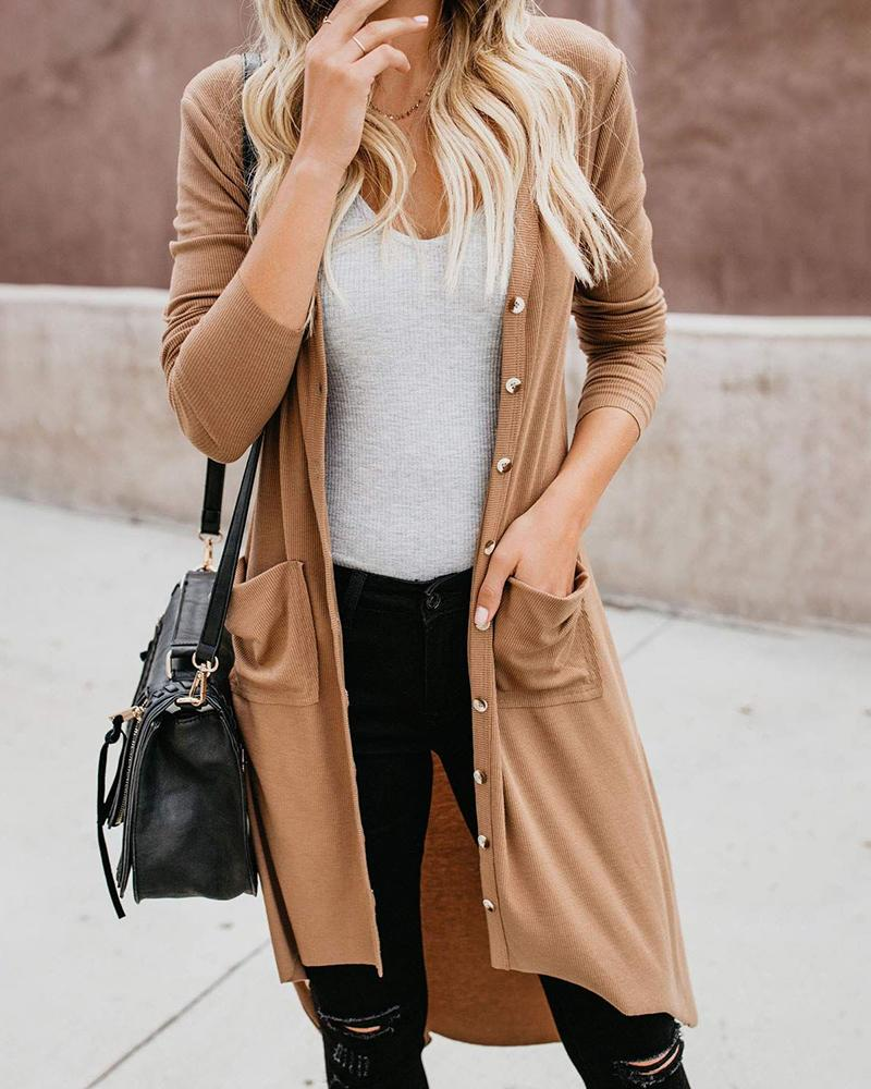 Solid Long Sleeve Buttoned Pocket Cardigan