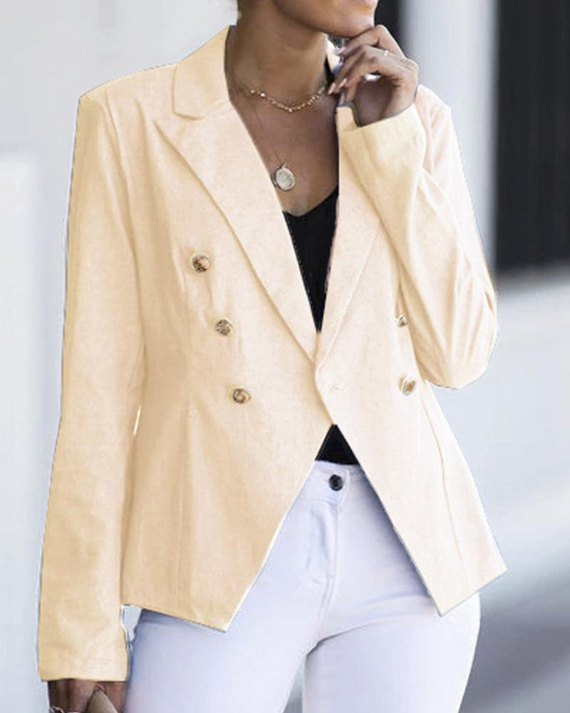 One-Button Peaked Lapel Suit Jacket
