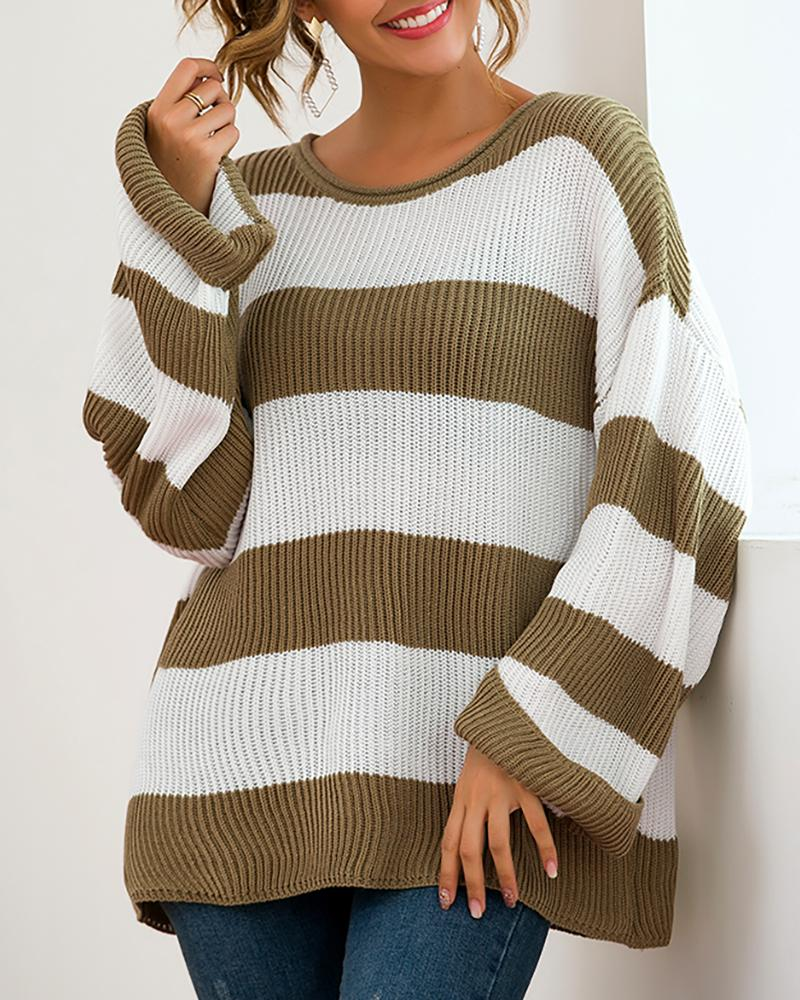 Colorblock Insert Wide Sleeve Sweater