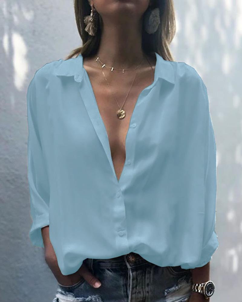 Deep V-Neck Button Up Shirt