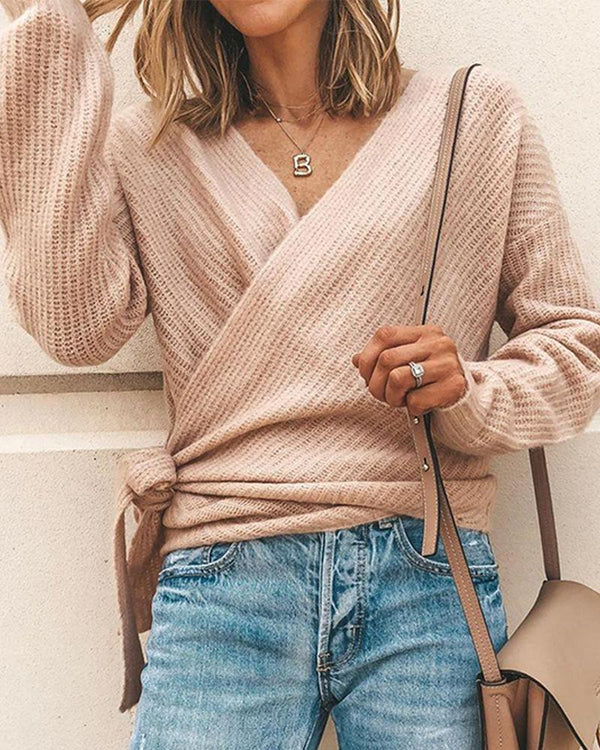 V Neck Ribbed Knit Casual Wrap Top