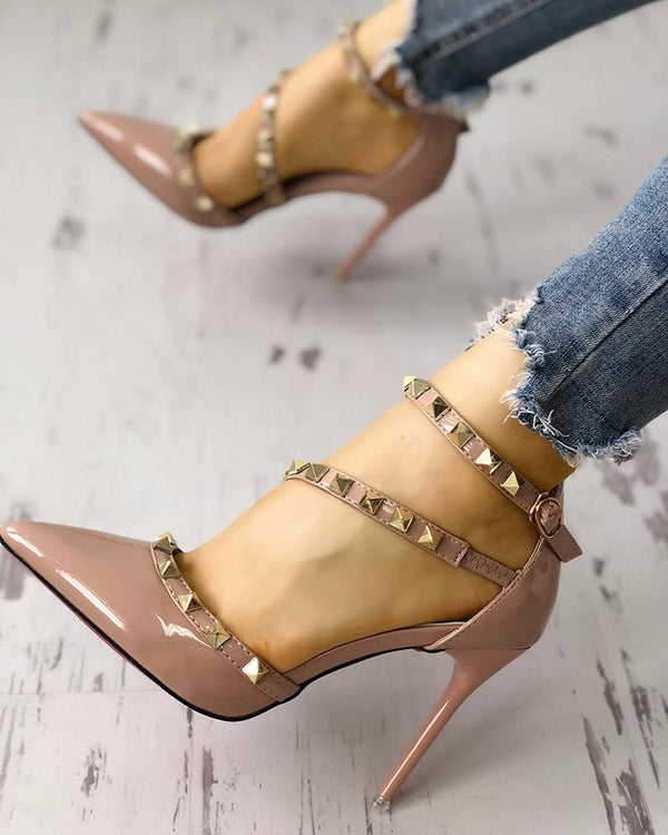 Rivet Embellished Cut Out Pointed Toe Thin Heels