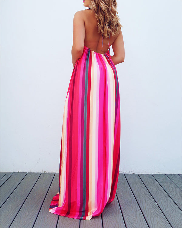 Halter Backless Colorful Striped Maxi Dress