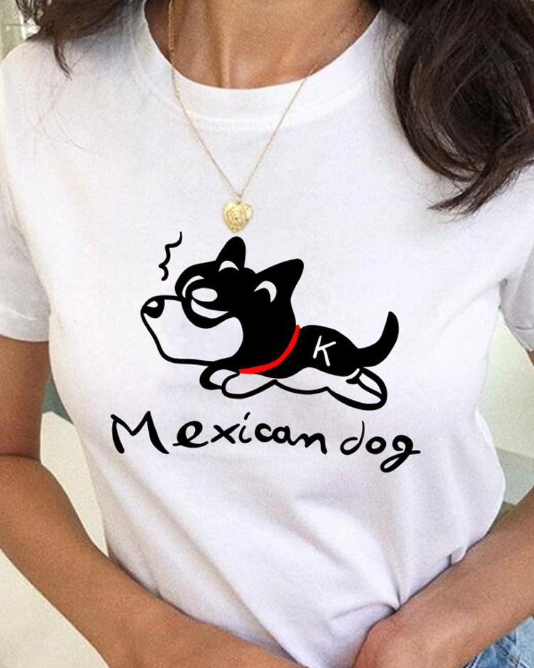 Summer Women Funny Dog Print T-Shirt
