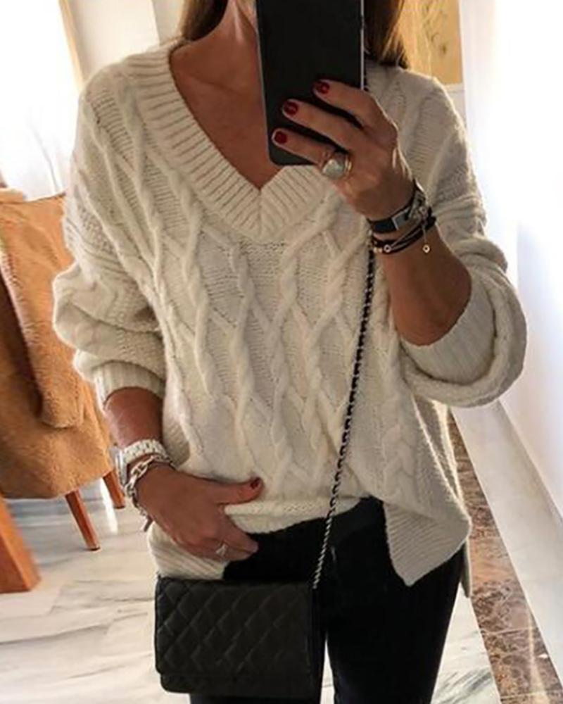 Solid V Neck Long Sleeve Knitting Sweater