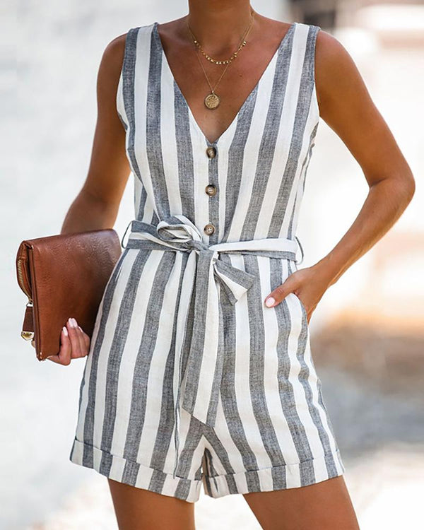 Deep V Striped Waist Belted Rompers