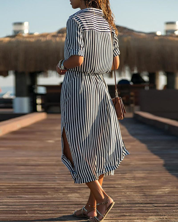 Striped Short Sleeve Slit Shirt Dress