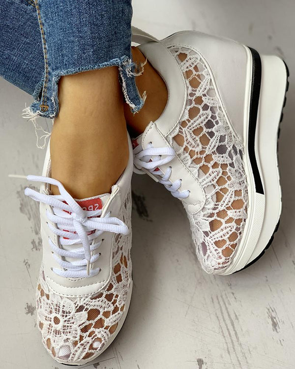 Lace Splicing Muffin Casual Sneakers