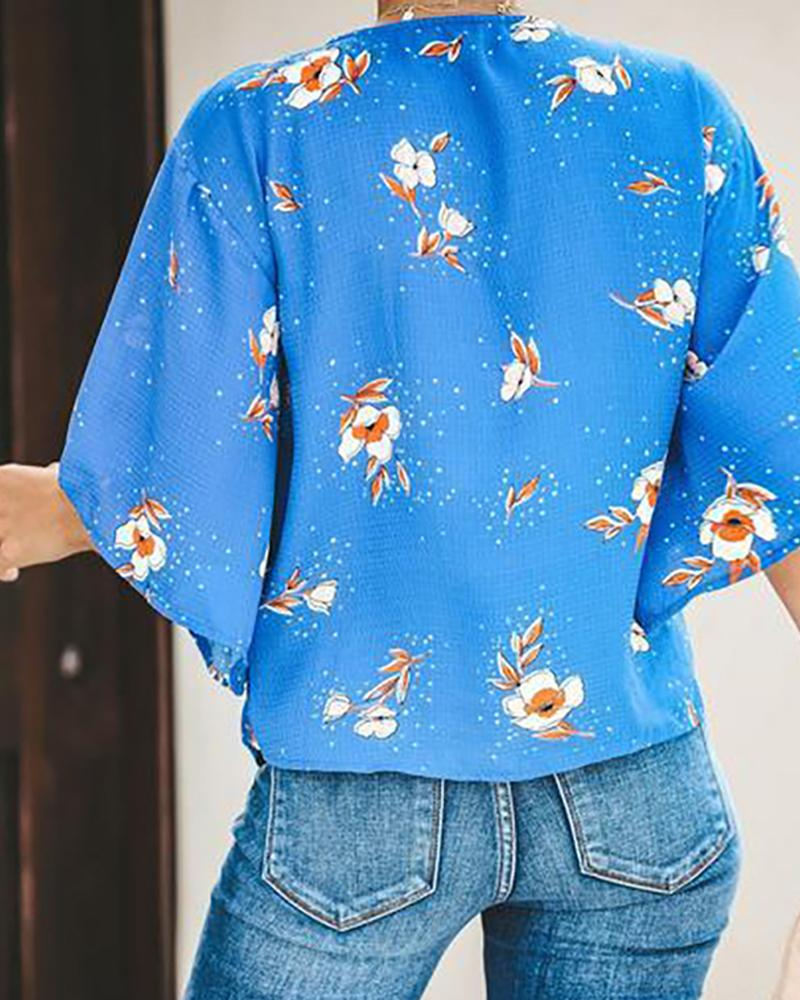 V-neck wide-sleeved printed women's top