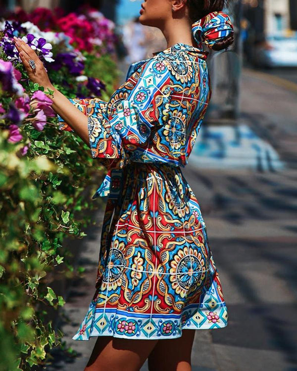 Lantern Sleeve Ethnic Print Shirt Dress