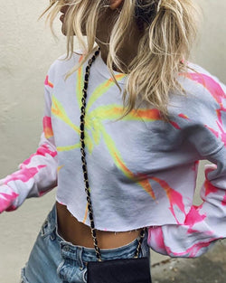Round Neck Long Sleeve Print Crop T-shirt