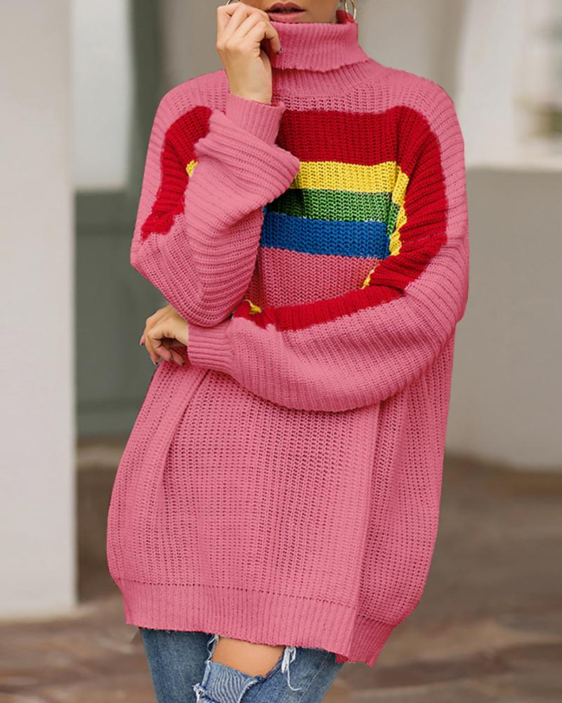 High Neck Rainbow Striped Casual Sweater