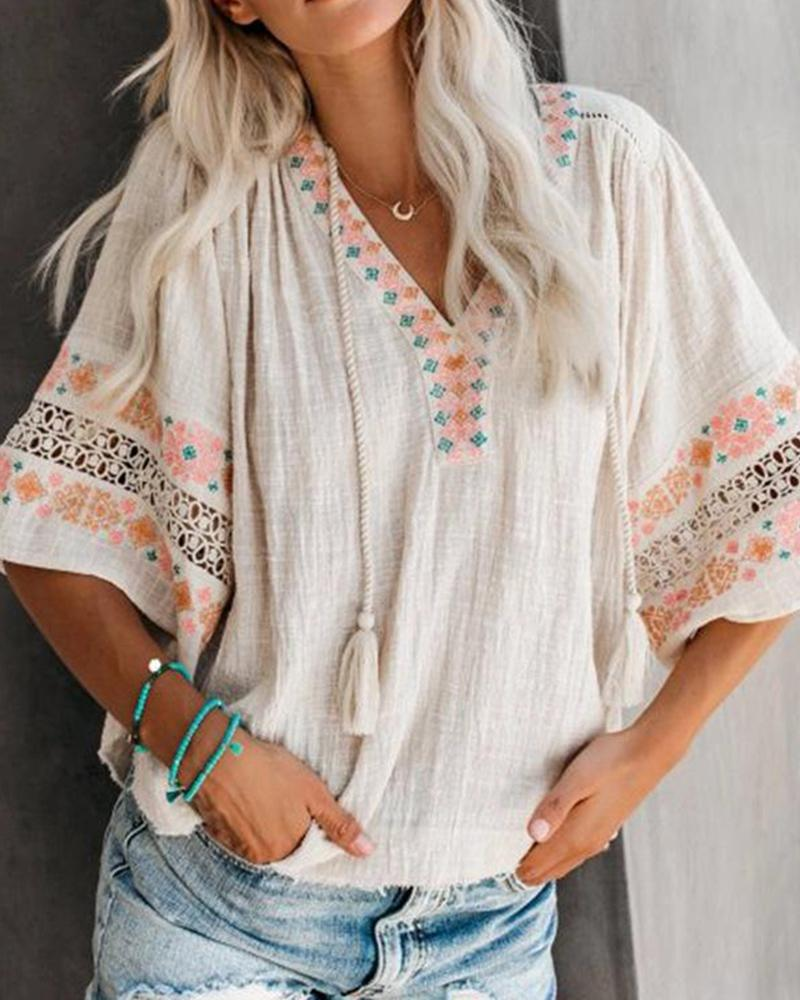 Ethnic Short-sleeved Printed Top