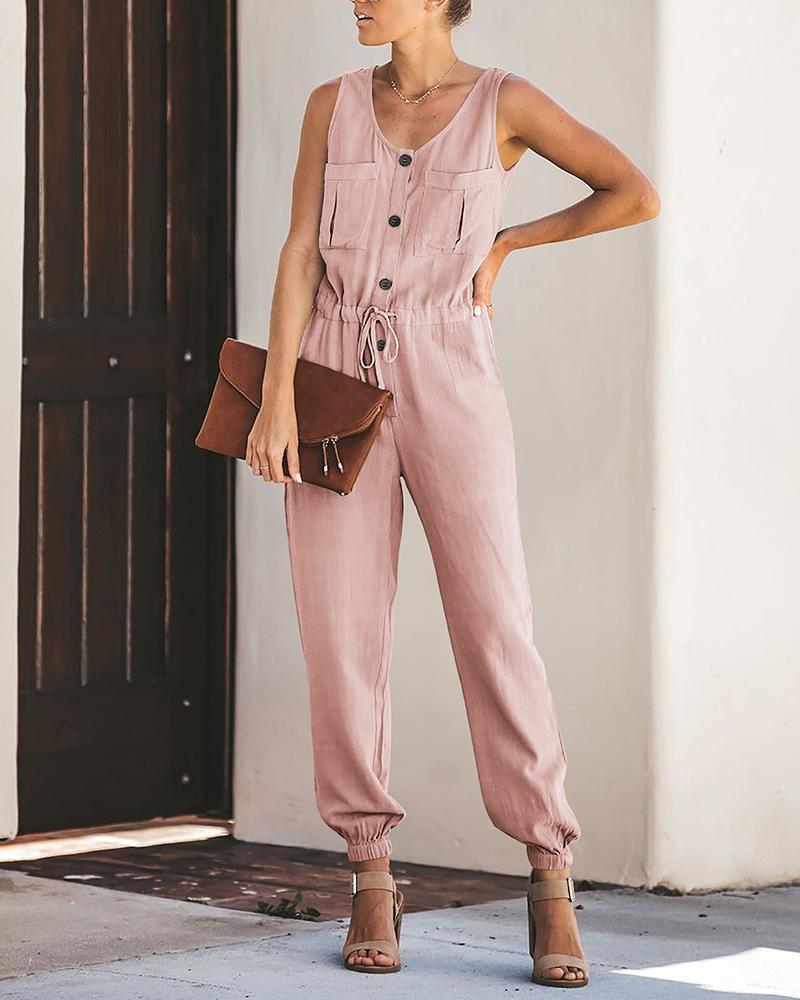 Drawstring Dual Pocket Casual Jumpsuit