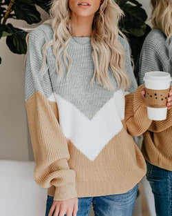 Contrast Color Patchwork Round Neck Loose Sweater