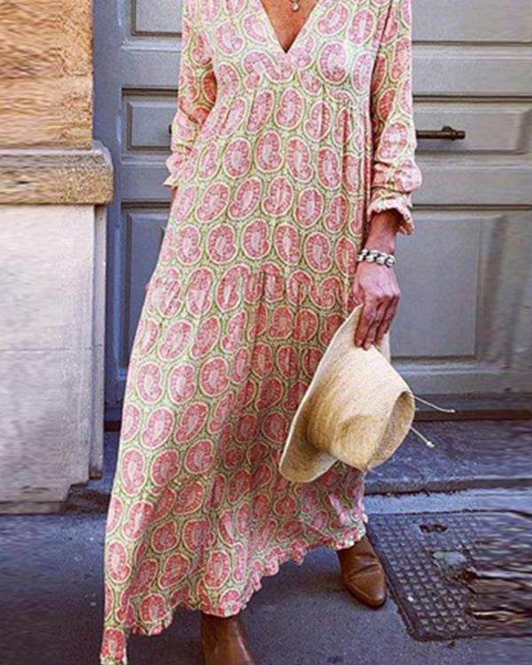 2019 summer new European and American hot seliing sexy V-neck long-sleeved dress solid color printed dress