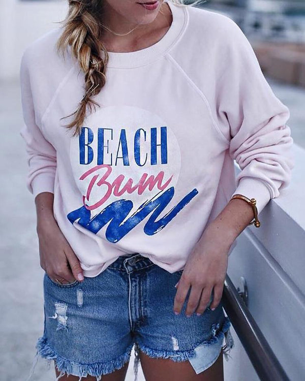 Letter Print Long Sleeve Pullover Sweatshirt