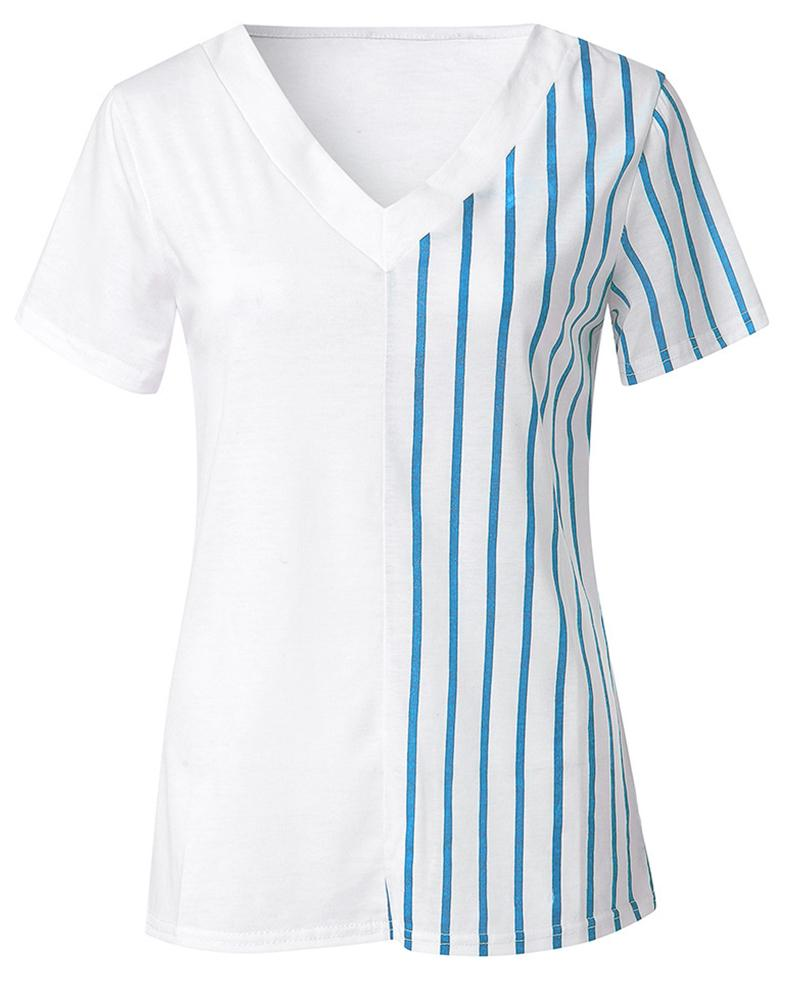 V-Neck Striped Insert Casual T-Shirt