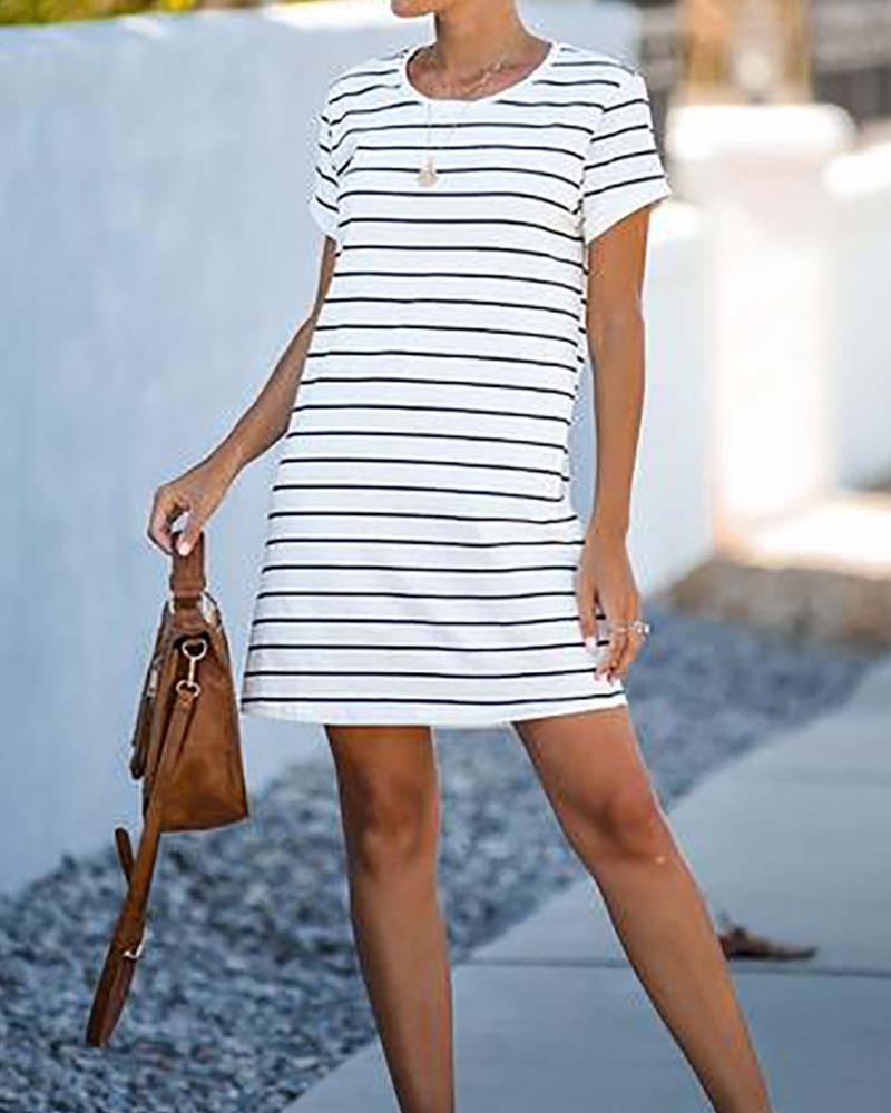 Cotton Short Sleeve Round Neck Dress