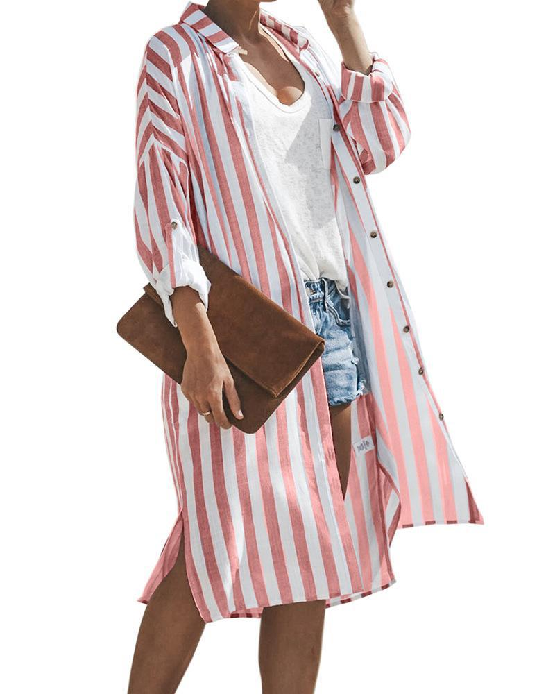 Striped long-sleeved single-breasted cardigan sunscreen long kimono