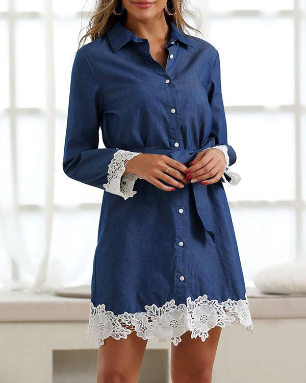 Crochet Lace Insert Tight Waist Denim Shirt Dress