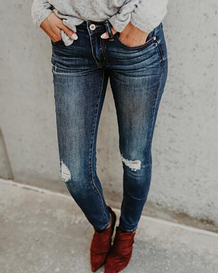 Ripped Skinny Denim Jeans Pencil Pants