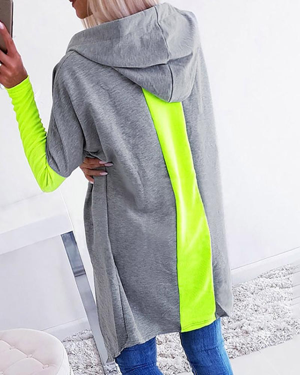 Hooded Colorblock Insert Open Front Longline Coat