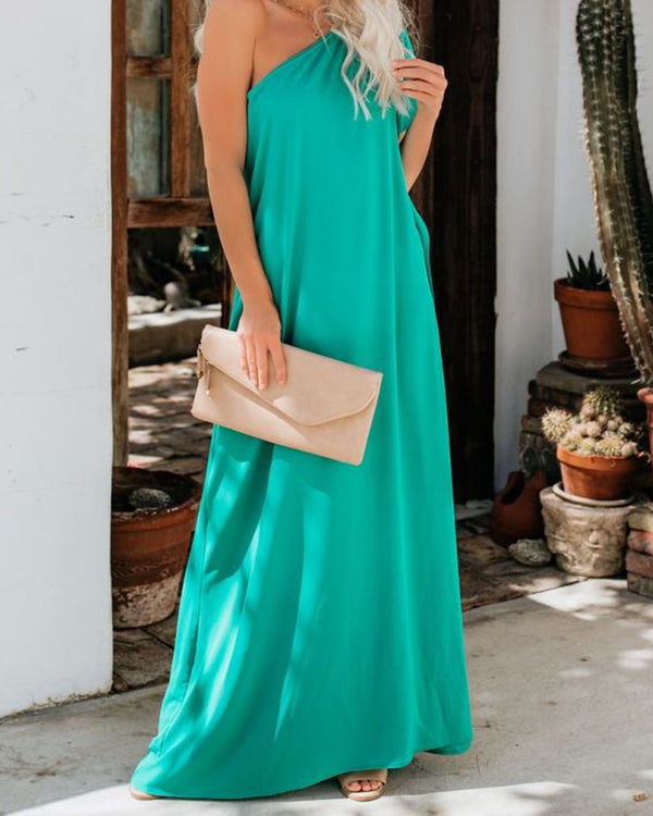 One Shoulder Loose Maxi Dress