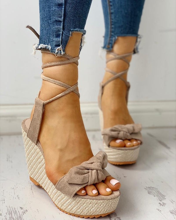 Bowknot Lace-up Ankle Platform Wedge Sandals