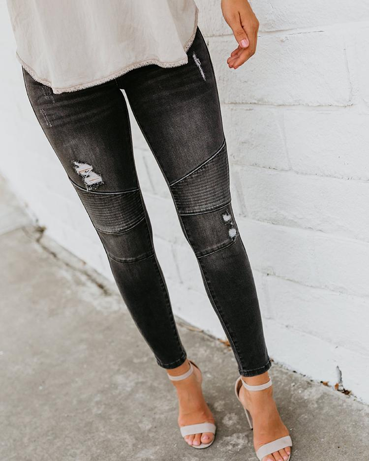 Solid Denim Ruched Ripped Fringes Pencil Jeans
