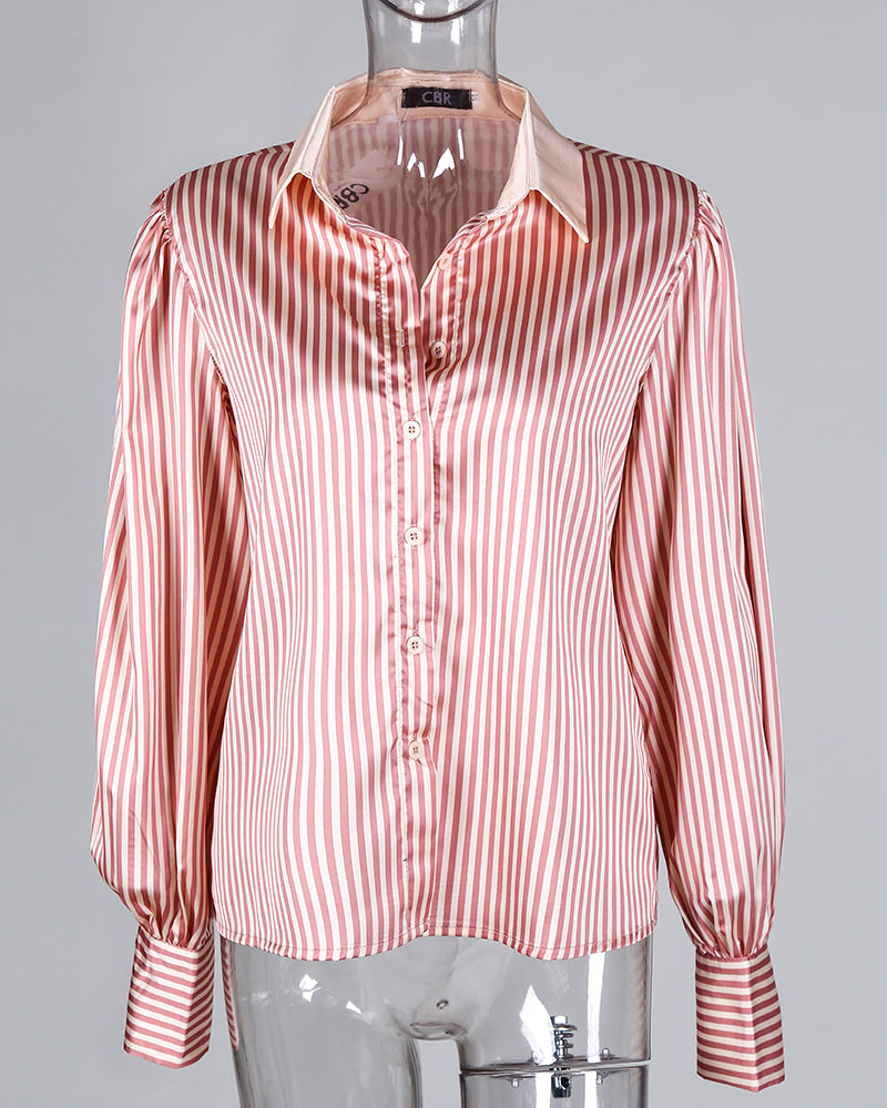 Striped Print Lantern Sleeve Shirt