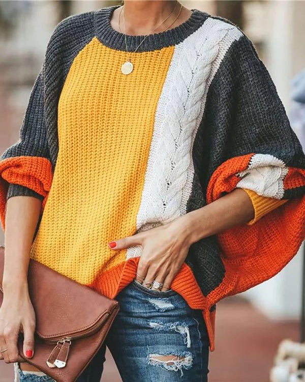 Round Neck Colorblock Insert Knitting Sweater