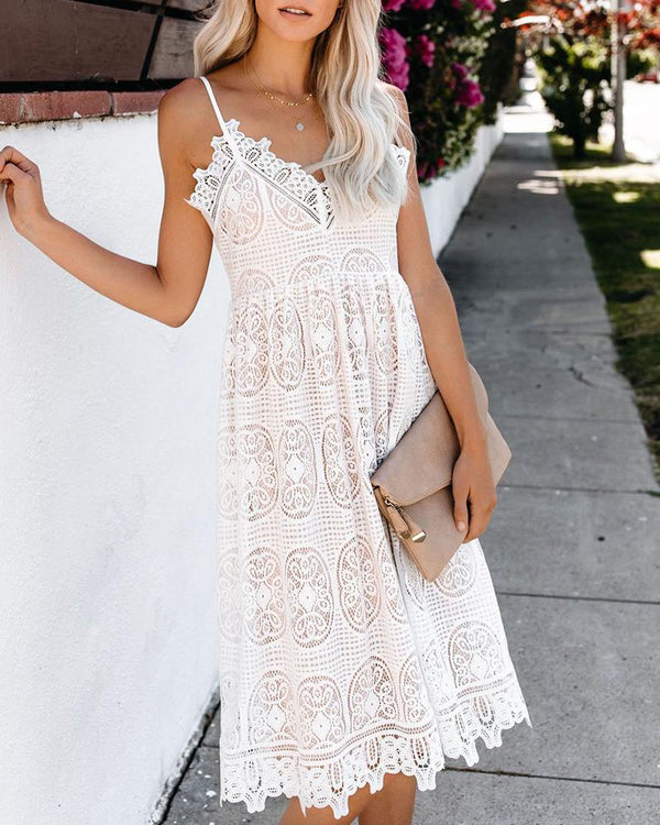 Lace V Neck Sling Dress