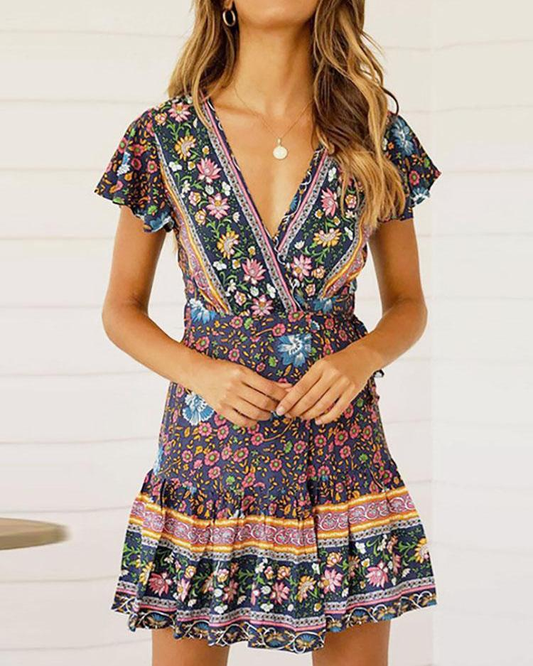 Floral Print Knot Waist Pleated Dress