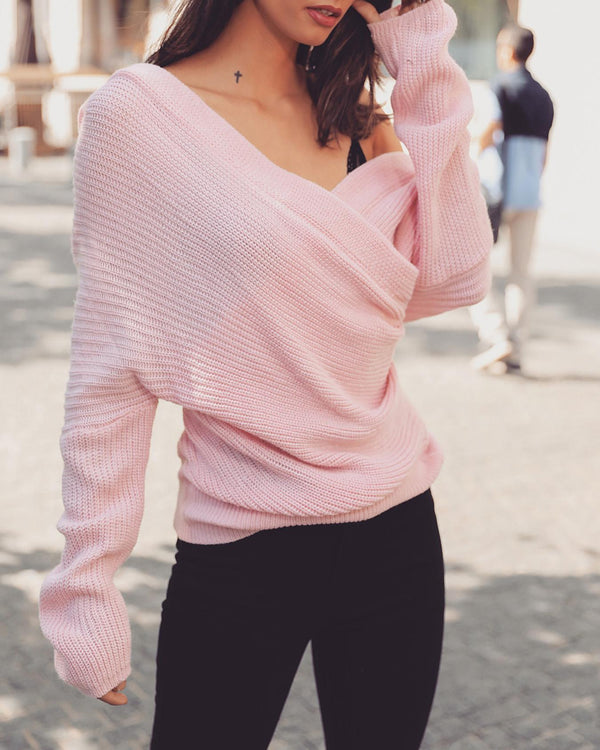 Solid V-Neck Wrap Casual Sweater