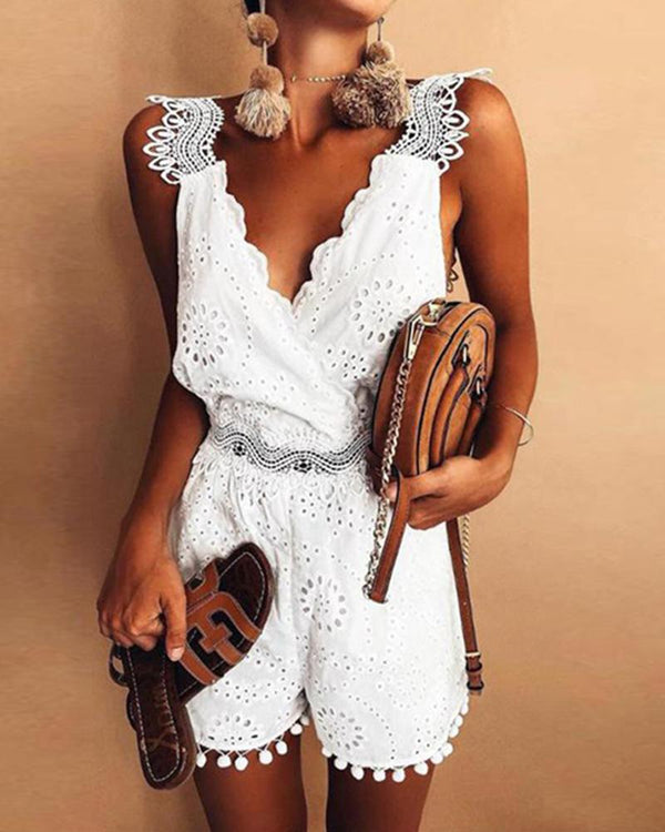New embroidered lace stitching fashion halter jumpsuit jumpsuit women
