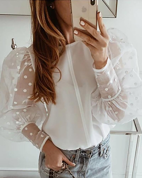 Dot Mesh Lantern Sleeve Casual Blouse