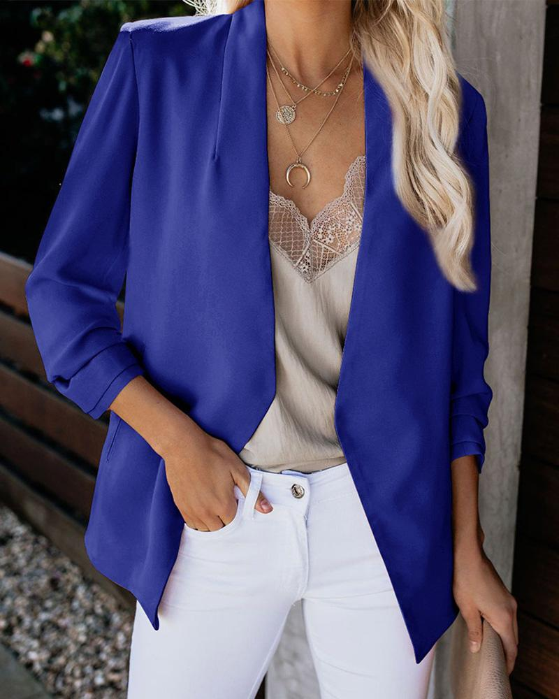 Notched Neck Long Sleeve Blazer Suit