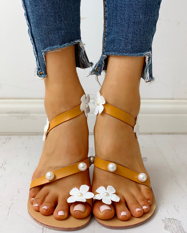 Flower Embellished Toe Ring Beaded Flat Sandals
