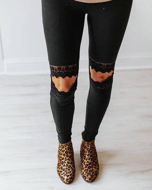 Lace Insert Cutout Knee Casual Pants