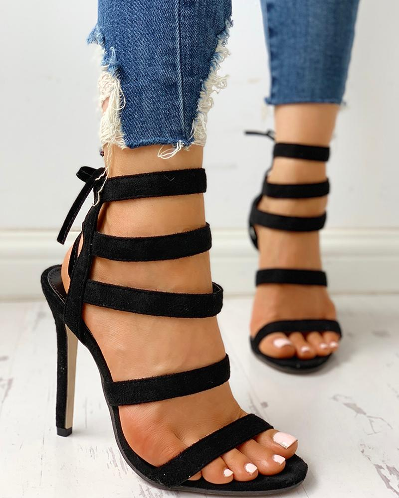 Multi-Strap Tied Detail Thin Heeled Sandals