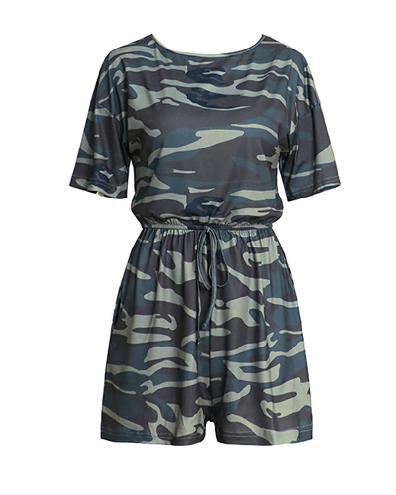 Camouflage Print Drawstring Casual Romper