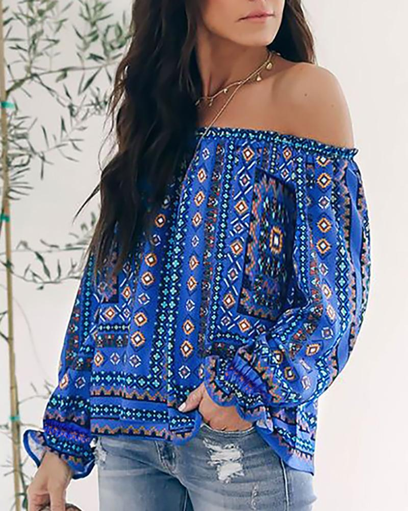 Off Shoulder Ruffled Sleeves Ethnic Style Top