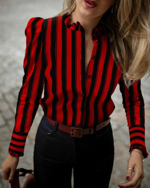 Colorblock Striped Frill Cuff Buttoned Shirt