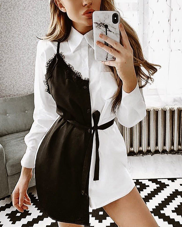 Contrast Color Eyelash Lace Insert Shirt Dress