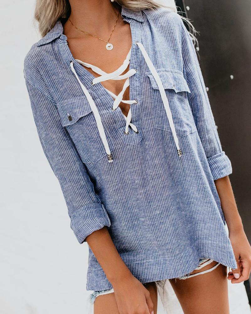 V Neck Drawstring Design Long Sleeve Striped Blouse
