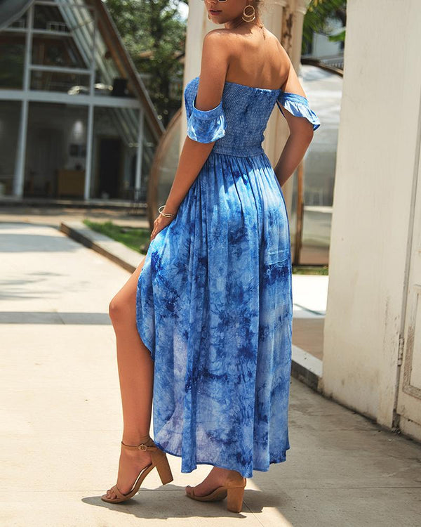 Off Shoulder Shirring Slit Tie Dye Maxi Dress