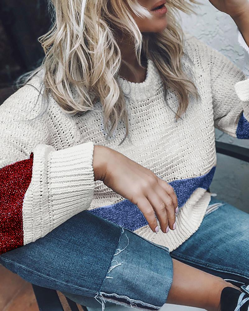 Striped Colorblock Long Sleeve Casual Sweater