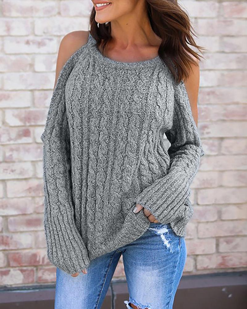 Solid Halter Cold Shoulder Sweater