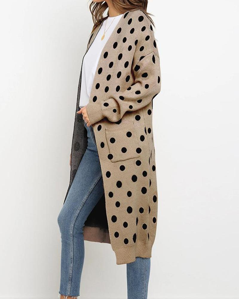 Polka Dot Open Front Casual Cardigan
